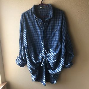 Vintage Blue Plaid Flannel